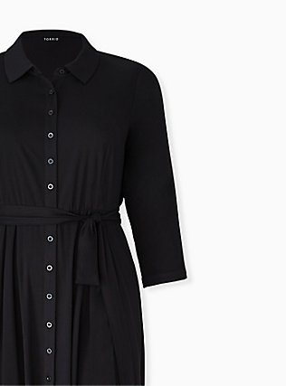 Plus Size Black Challis Button Front Maxi Shirt Dress, DEEP BLACK, alternate