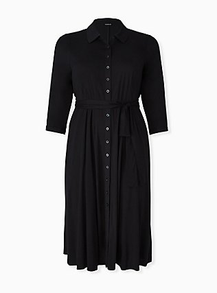 Plus Size Black Challis Button Front Maxi Shirt Dress, DEEP BLACK, hi-res