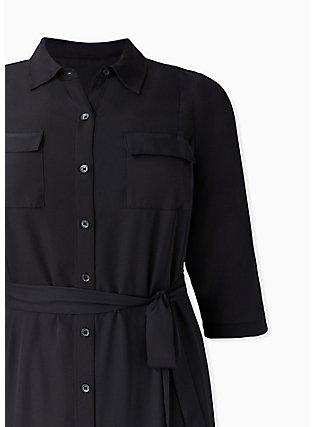 Black Georgette Midi Shirt Dress, DEEP BLACK, alternate