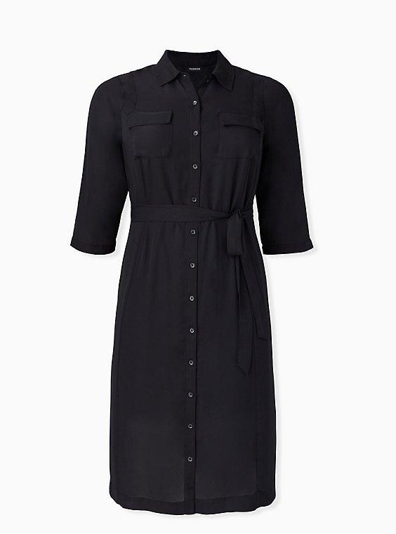 Black Georgette Midi Shirt Dress, , hi-res