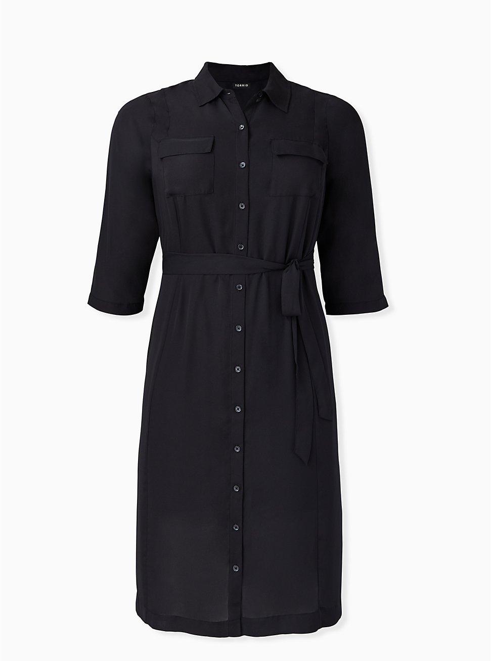Black Georgette Midi Shirt Dress, DEEP BLACK, hi-res