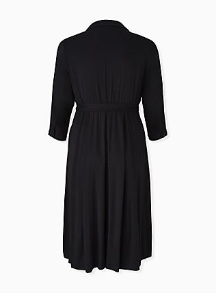 Plus Size Black Challis Button Front Self-Tie Midi Shirt Dress, DEEP BLACK, alternate