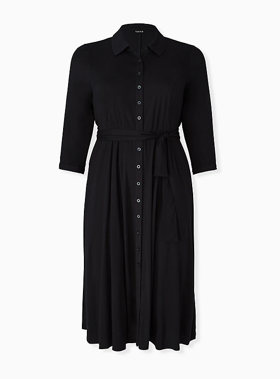 Plus Size Black Challis Button Front Self-Tie Midi Shirt Dress, DEEP BLACK, hi-res