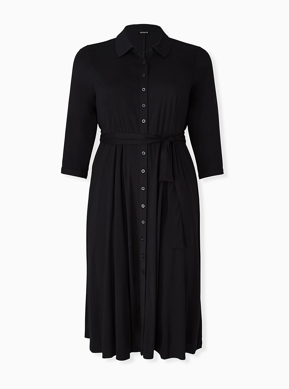Black Challis Button Front Self-Tie Midi Shirt Dress, DEEP BLACK, hi-res