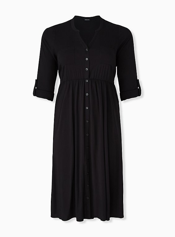 Plus Size Black Challis Button Front Midi Shirt Dress, , hi-res