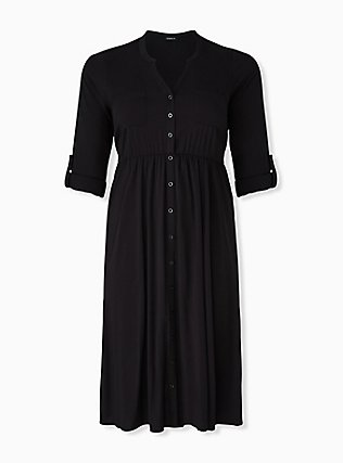 Black Challis Button Front Midi Shirt Dress, DEEP BLACK, hi-res