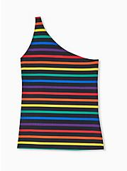 Celebrate Love Black Rainbow Stripe One Shoulder Foxy Top, RAINBOW, alternate