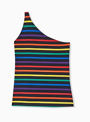 Celebrate Love Black Rainbow Stripe One Shoulder Foxy Top, RAINBOW, alternate