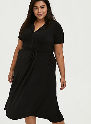 Black Studio Knit Button Down Midi Shirt Dress, DEEP BLACK, alternate