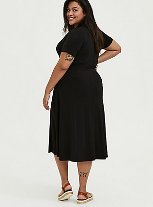 Plus Size Black Studio Knit Button Down Midi Shirt Dress, DEEP BLACK, alternate