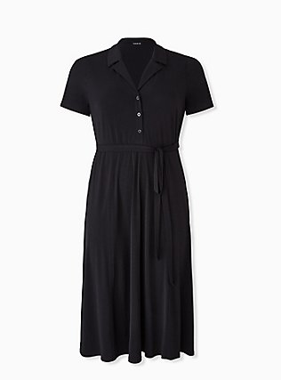 Plus Size Black Studio Knit Button Down Midi Shirt Dress, DEEP BLACK, flat