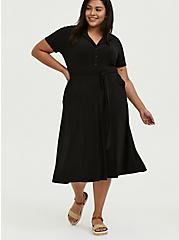 Black Studio Knit Button Down Midi Shirt Dress, DEEP BLACK, hi-res