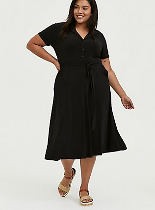 Plus Size Black Studio Knit Button Down Midi Shirt Dress, DEEP BLACK, hi-res