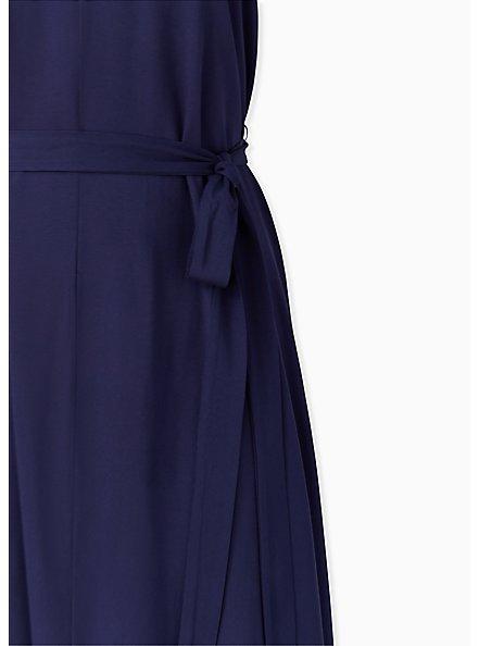 Navy Self Tie Midi Trapeze Dress, PEACOAT, alternate