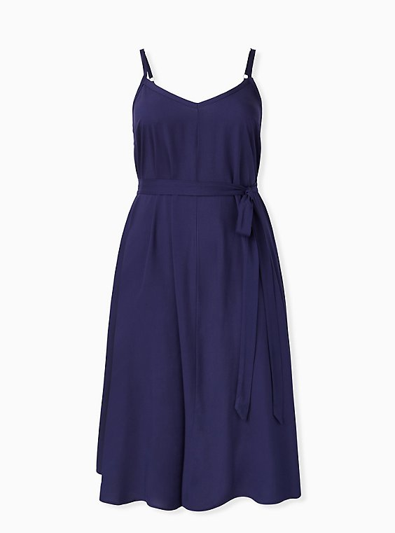 Navy Self Tie Midi Trapeze Dress, , hi-res