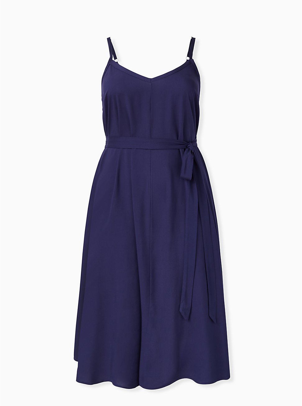 Navy Self Tie Midi Trapeze Dress, PEACOAT, hi-res