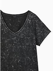 Black Mineral Wash Cotton Pocket Tee, DEEP BLACK, alternate