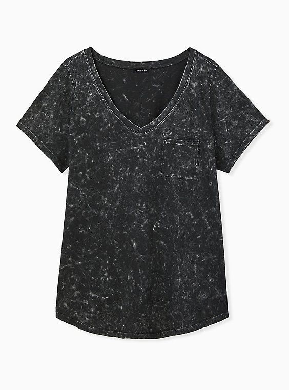 Black Mineral Wash Cotton Pocket Tee, , hi-res