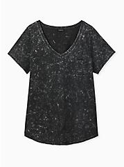 Black Mineral Wash Cotton Pocket Tee, DEEP BLACK, hi-res
