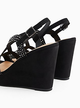 Black Faux Suede Jeweled Platform Wedge (WW), BLACK, alternate