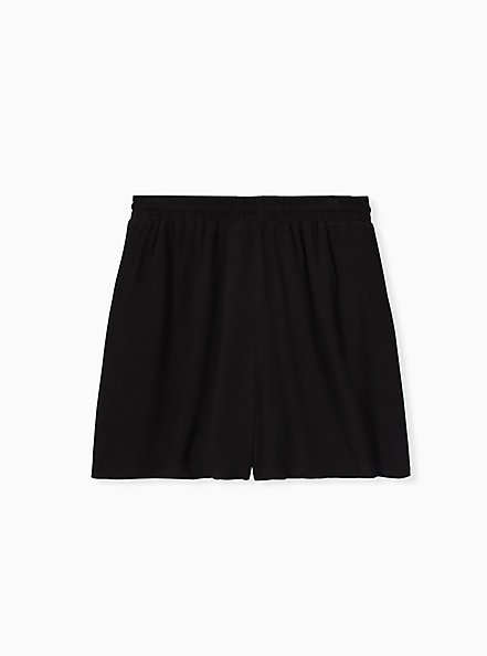 Drawstring Mid Short - Crinkle Gauze Black, DEEP BLACK, alternate