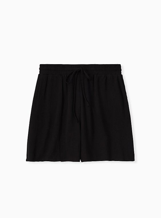 Plus Size Drawstring Mid Short - Crinkle Gauze Black, , hi-res