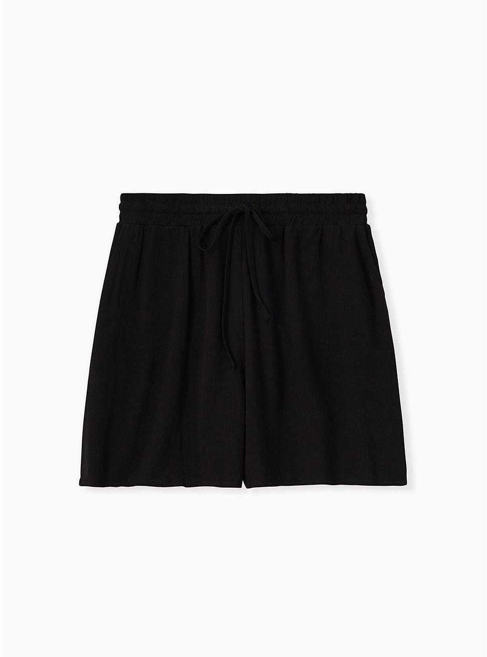 Drawstring Mid Short - Crinkle Gauze Black, DEEP BLACK, hi-res