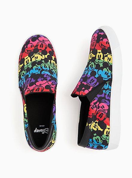 Disney Mickey Mouse Rainbow Black Canvas Slip-On Sneaker (WW), BLACK, alternate
