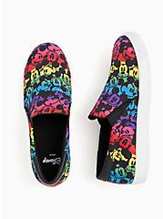Disney Mickey Mouse Rainbow Black Canvas Slip-On Sneaker (WW), BLACK, alternate
