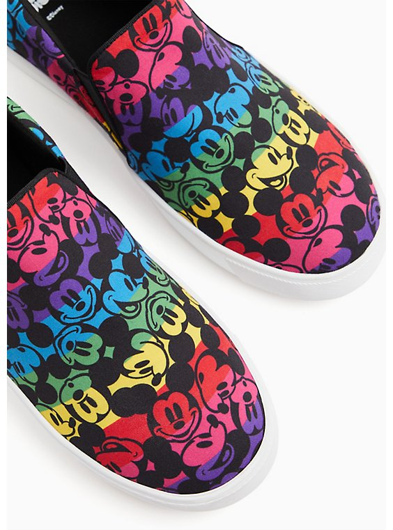 Disney Mickey Mouse Rainbow Black Canvas Slip-On Sneaker (WW), , hi-res