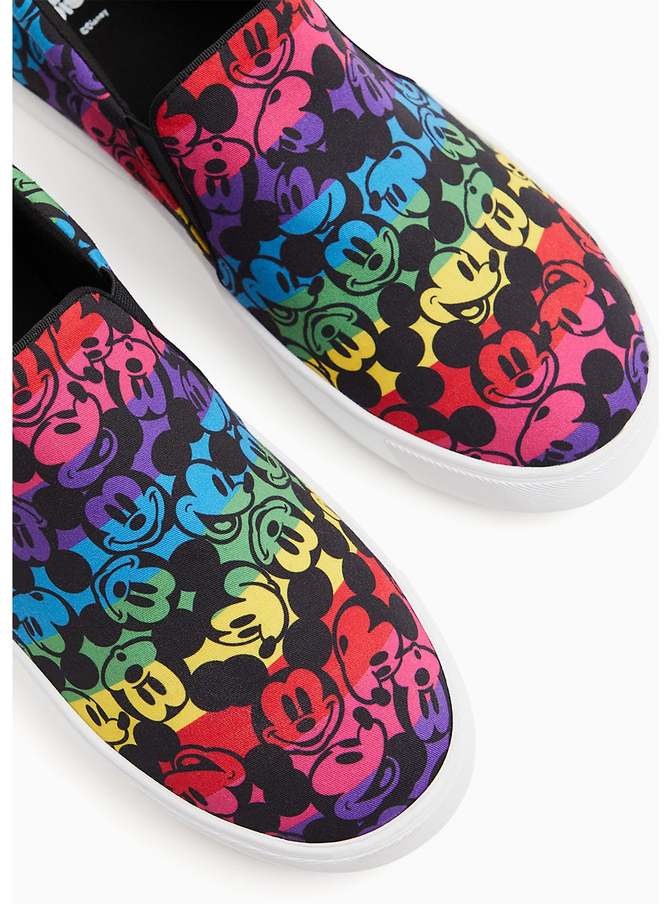 Disney Mickey Mouse Rainbow Black Canvas Slip-On Sneaker (WW), BLACK, hi-res