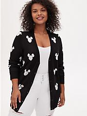 Disney Mickey Mouse Logo Black Button Front Cardigan, DEEP BLACK, alternate