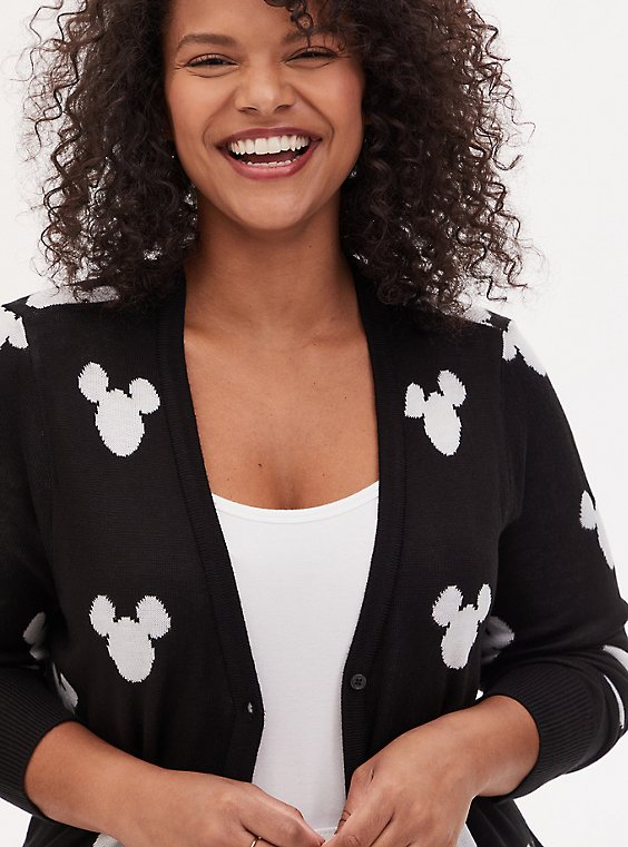Plus Size Disney Mickey Mouse Logo Black Button Front Cardigan, , hi-res