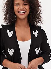 Disney Mickey Mouse Logo Black Button Front Cardigan, DEEP BLACK, hi-res