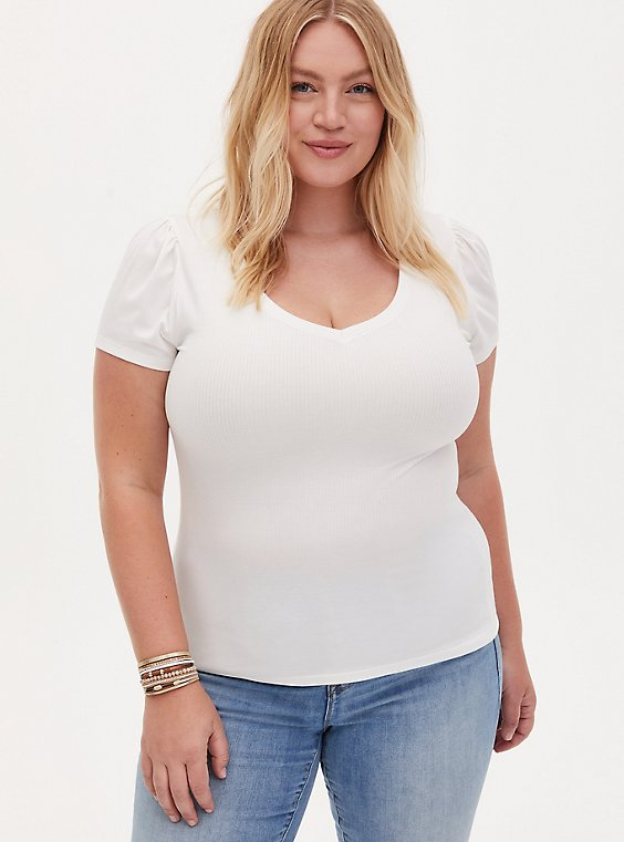 Puff Sleeve V-Neck Tee - Rib White, BRIGHT WHITE, hi-res