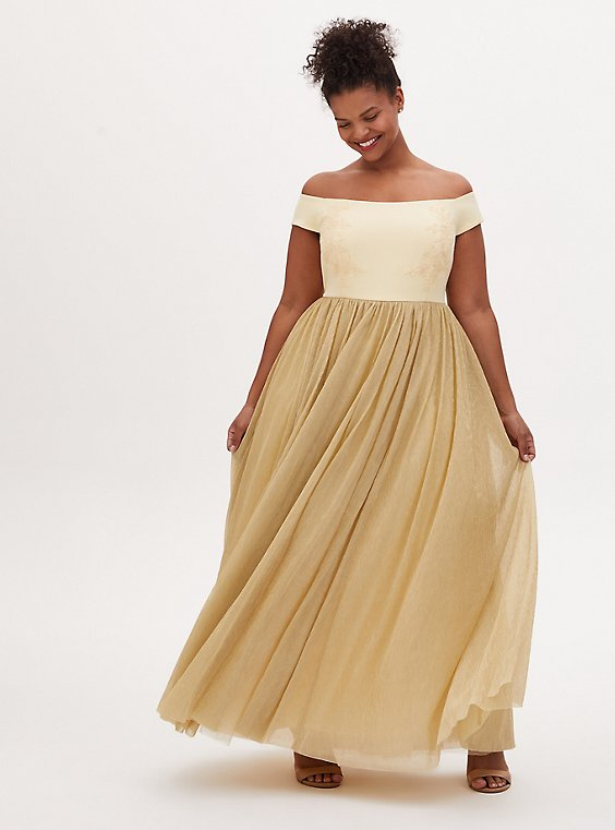 Disney Beauty and the Beast Belle Special Occasion Golden Yellow Off Shoulder Gown , GOLD DUST YELLOW, hi-res