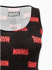 Plus Size Marvel Logo Jersey Skater Dress, BLACK  RED, alternate