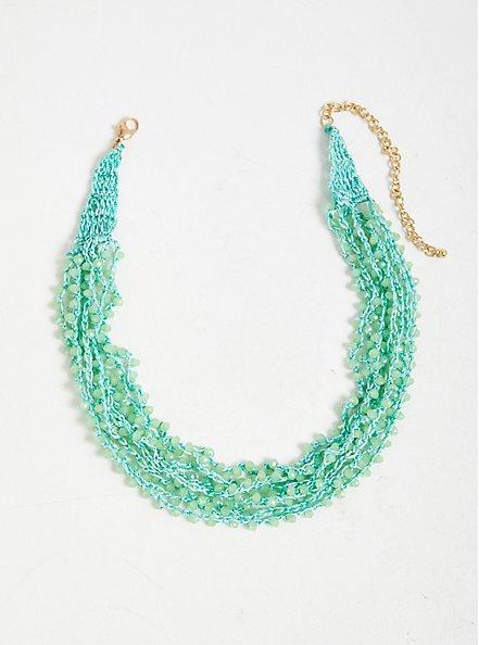 Plus Size Turquoise Beaded Layered Necklace, , alternate