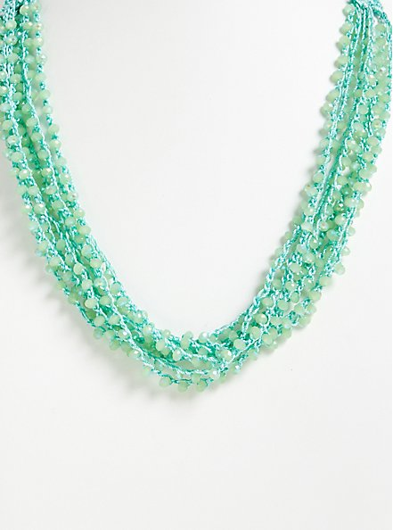 Plus Size Turquoise Beaded Layered Necklace, , hi-res