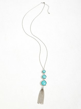 Turquoise Teardrop Tassel Pendant Necklace, , alternate