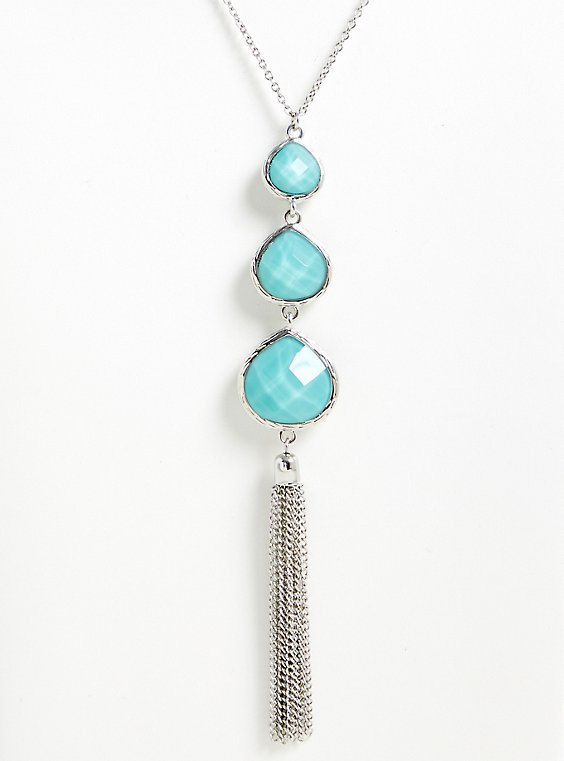Plus Size Turquoise Teardrop Tassel Pendant Necklace, , hi-res