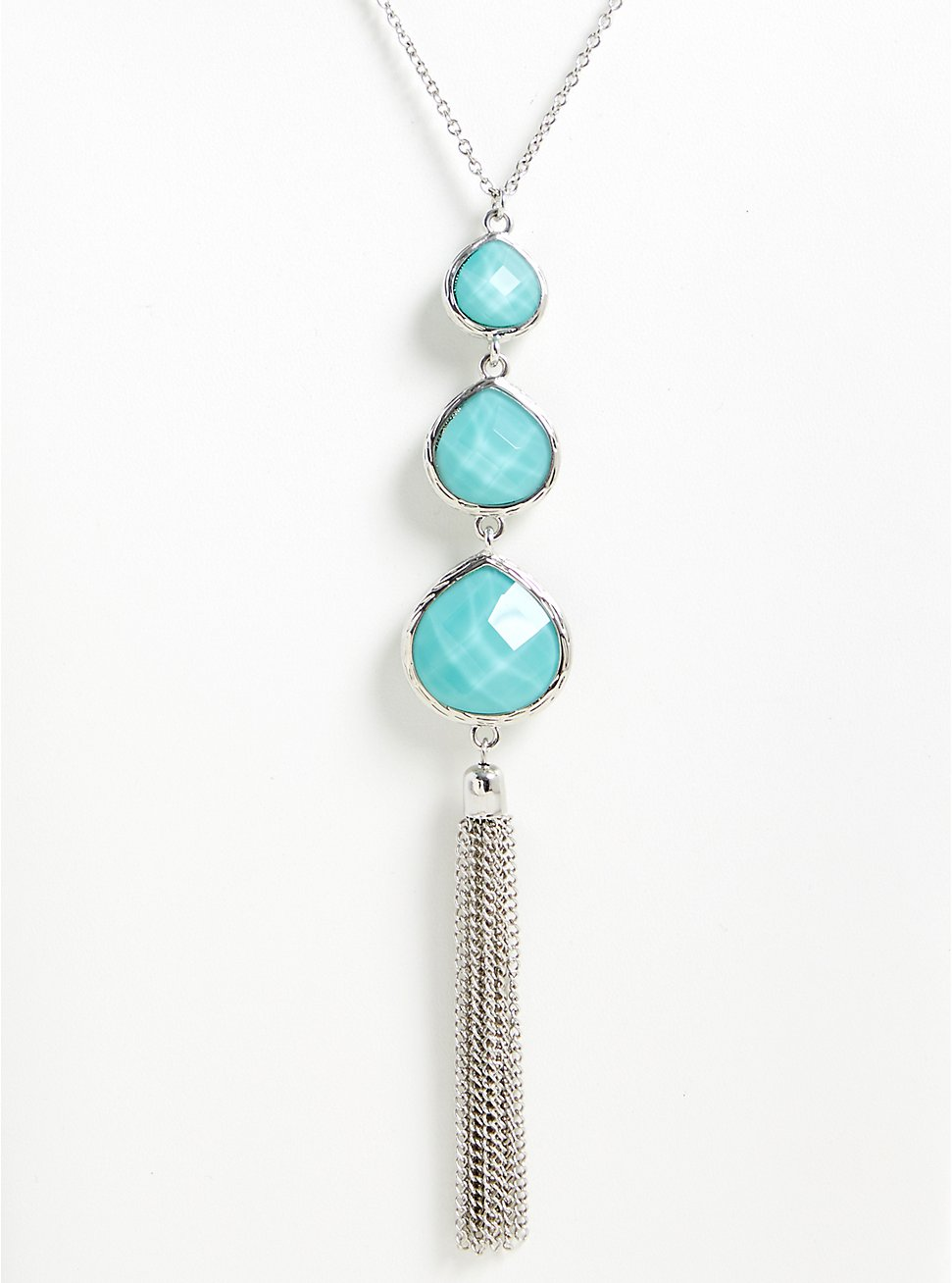 Turquoise Teardrop Tassel Pendant Necklace, , hi-res