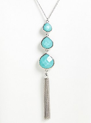 Turquoise Teardrop Tassel Pendant Necklace, , hi-res