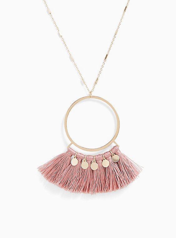 Plus Size Gold-Tone & Rose Pink Fringe Pendant Necklace, , hi-res
