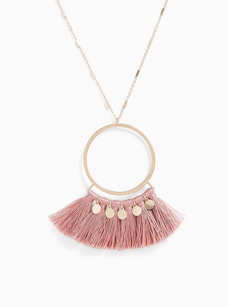 Gold-Tone & Rose Pink Fringe Pendant Necklace, , hi-res