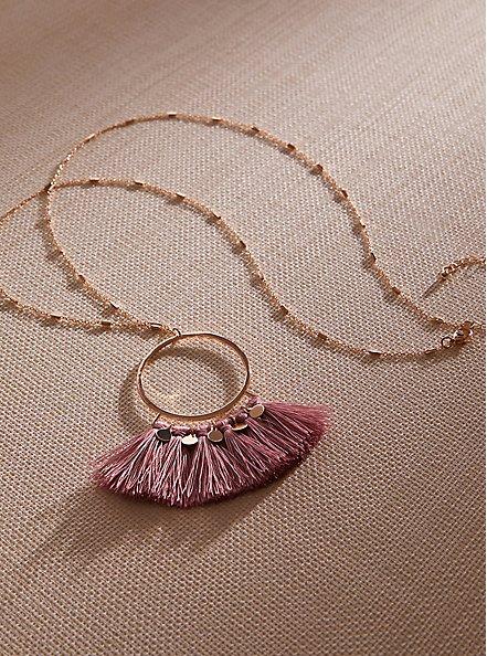 Plus Size Gold-Tone & Rose Pink Fringe Pendant Necklace, , hi-res