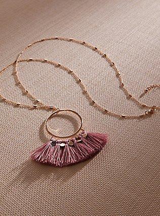 Gold-Tone & Rose Pink Fringe Pendant Necklace, , pdped