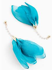 Teal Blue Tulip Drop Earrings, , alternate