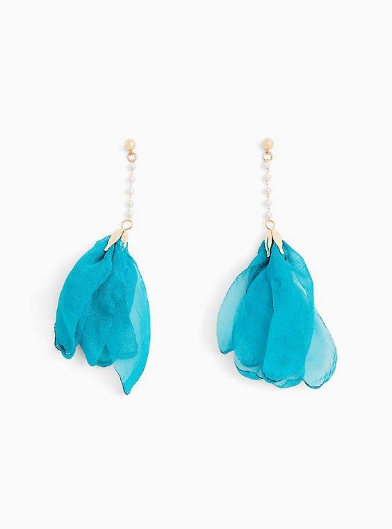 Teal Blue Tulip Drop Earrings, , hi-res