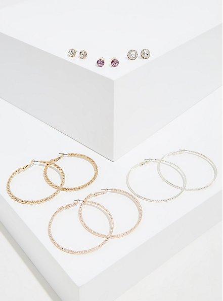 Hoop & Stud Earrings Set - Set of 6, , hi-res